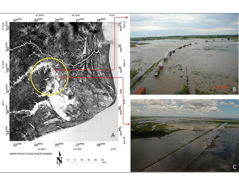 Imagem da fração água/sombra gerada pelo MLME aplicado sobre a imagem CCD CBERS-2B (A), e fotografias aéreas de alguns trechos dessas áreas inundadas (B e C).